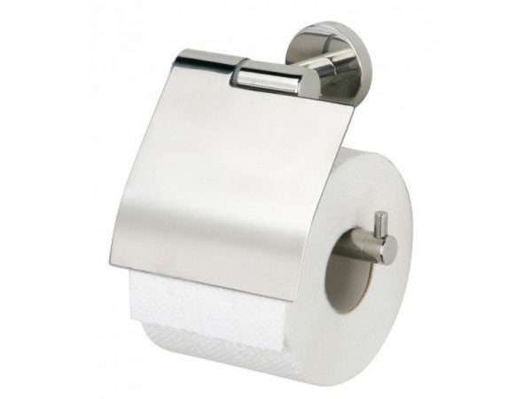 Toalettpappershållare Boston med lock Polerad