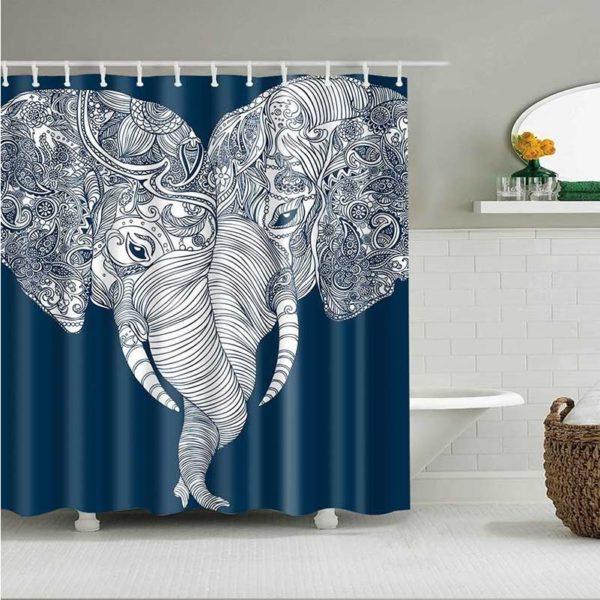 duschdraperi elefanter